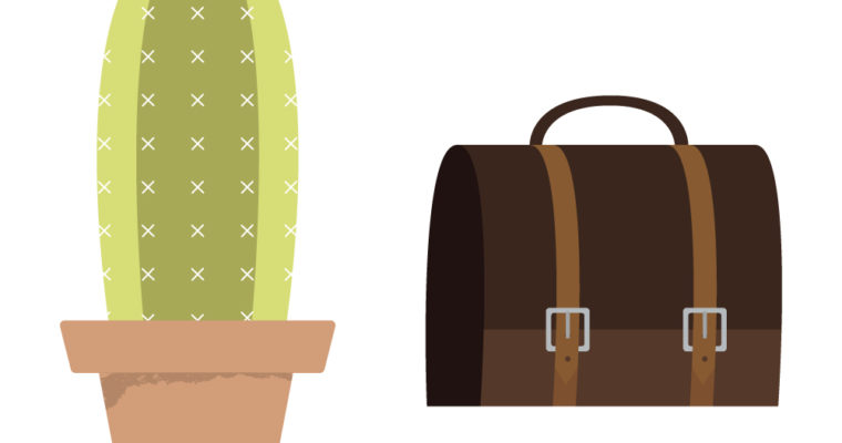 Free Vector Graphics: Cactus and Briefcase